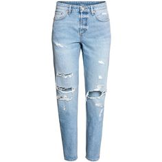 H&M Boyfriend Low Ripped Jeans $24.99 (440 MXN) ❤ liked on Polyvore featuring jeans, pants, bottoms, calças, pantalones, blue boyfriend jeans, boyfriend jeans, blue denim jeans, low rise jeans and distressed jeans