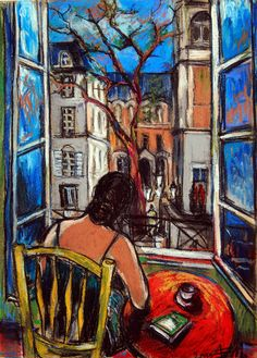 "Artist: MONA EDULESCO; Pastel 2012 Drawing ""Woman at window / SOLD"""