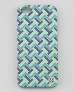 Tory Burch T-Zag Printed Hard Shell iPhone 5 Case, Mint - Neiman Marcus Cell Phone Cases, Tech Accessories, Neiman Marcus, Tory Burch, Cool Style, Shells, Mint, Iphone, Printed