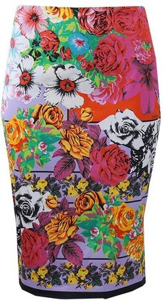 VERSACE Floral Pencil Skirt - Lyst  I life this floral so much better than patel, muted, 'pretty' and uniform prints