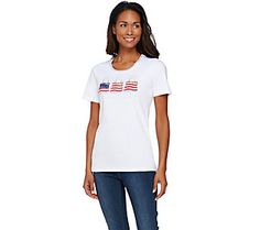 Quacker Factory Americana Novelty Short Sleeve T-shirt