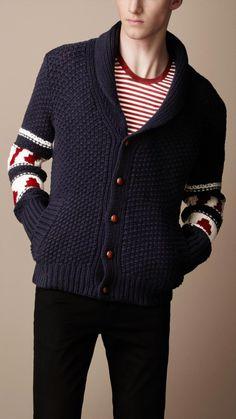 0fd413bae23 Burberry Brit - Blue Fair Isle Wool Cardigan for Men - Lyst