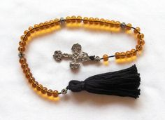 4 Decade Medieval 'AMBER' Rosary Paternoster SCA Re-enactment LARP Costume Ren