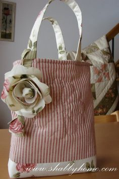 beautiful tote - love the striped pattern with the floral.