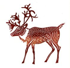 original lino print Caribou  Mulled Wine by adeegan on Etsy