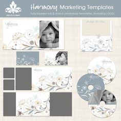 Marketing Template Set Harmony Photography Photoshop with Logo. $40.00, via Etsy. - No web background...