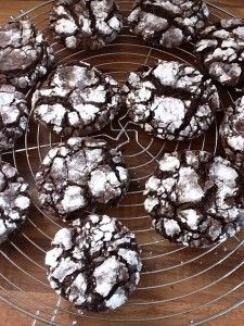 Gooey chocolate cookies.  Very soft and good but not amazing - they taste more like cupcakes.  I'd try putting chocolate chips in next time, use more powdered sugar on top, and maybe red sprinkles for the holidays.