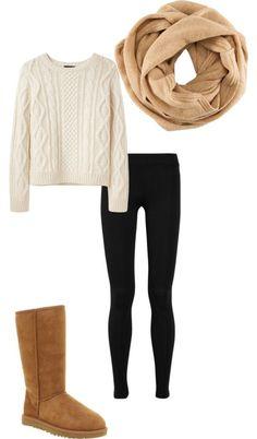 - Cream Knit Sweater - Black Leggings - Dark Cream Scarf - Brown UGGS