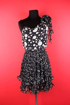 One Shoulder Black Dress w/ White Polka Dots Dress! ON SALE FOR $38.00! #countryflare  http://countryflaredesigns.mybigcommerce.com/one-shoulder-black-dress-w-white-polka-dots/
