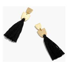 MADEWELL Tassel Earrings (1.580 RUB) ❤ liked on Polyvore featuring jewelry, earrings, true black, fringe tassel earrings, madewell jewelry, earring jewelry, fringe earrings and geometric earrings