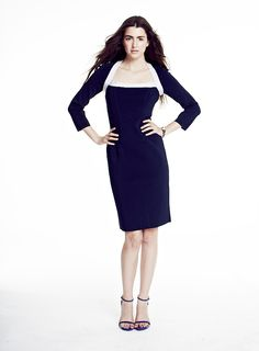 56ab0f9a858b Paula Hian | #SS15 | Nadine Square Neck Dress in Midnight/Platinum. Designer