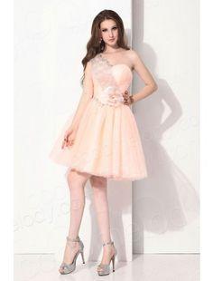 One Shoulder Knee Length Tulle Pink Party Dress