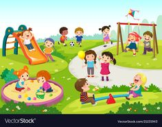 Happy children playing in playground. Vector illustration of happy children play , Kids Background, Kids Vector, Children's Picture Books, Jouer, Drawing For Kids, Happy Kids, Clipart, Kids Playing, Cute Kids