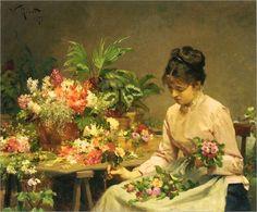 A Vendedora de Flores - Pintura de Victor Gabriel Gilbert - França