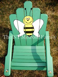 A hand painted Child's Adirondack Chair with an adorable bumble bee design. Blue Velvet Dining Chairs, Dining Room Chair Cushions, Painted Chairs, Painted Furniture, Ames Chair, Mother Daughter Projects, Restaurant Chairs For Sale, Office Chair Without Wheels, Bee Design