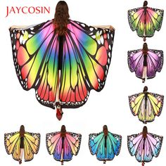 H&ZY Newly Design Women Butterfly Wings Cloak Shawl Pashmina Shawl Scarf Nymph Pixie Poncho Costume Accessory Holidays Costumes Giant Butterfly, Butterfly Wings, Fabric Butterfly, Edc, Nymph Costume, Peacock Wings, Wrap Clothing, Wings Design, Pixie
