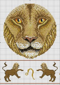 Cross Stitching, Cross Stitch Embroidery, Embroidery Patterns, Cross Stitch Designs, Cross Stitch Patterns, Zodiac Signs, Leo Zodiac, Peler Beads, Zodiac Symbols
