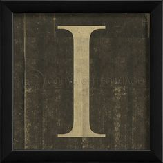 Printed Letters  Letter T  Vintage Framed Alphabet