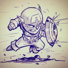 Drawing Marvel chibi cap by - Fan Art Friday: The Delightful Geek Stylings Of Derek Laufman Comic Book Characters, Marvel Characters, Comic Character, Comic Books Art, Comic Art, Book Art, Cartoon Kunst, Comic Kunst, Cartoon Art