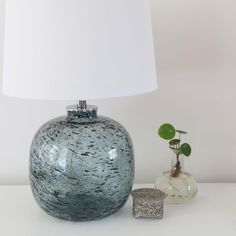 Molten Blue Glass Table Lamp | Black Mango