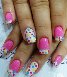 Pink,White and Dots with red,blue,orange and yellow.