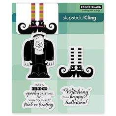 PENNY BLACK-Slapstick Cling Rubber Stamps. This package contains Spooky Wishes: one cling rubber stamp in a 3.75x4 inch package. Made in USA.