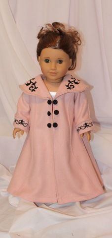 Titanic Rose's pink wool coat for American Girl doll. OOAK by All Dolled Up Doll Clothes