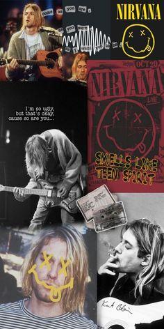 Gothic Wallpaper, Retro Wallpaper, Aesthetic Pastel Wallpaper, Aesthetic Wallpapers, Kurt Cobain Photos, Nirvana Kurt Cobain, Nirvana Art, Music Collage, Rock Poster