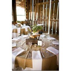 burlap, table settings, idea, centerpiec, barn weddings, rustic weddings, table linens, round tables, napkin