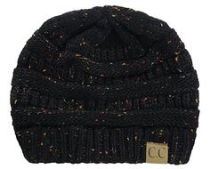 NYfashion101 Exclusive Colorful Confetti Soft Stretch Cable Knit Slouch Beanie - Black at Amazon Women's Clothing store: BLACK IVORY OR MINT