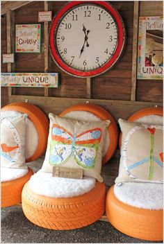 Painted Tire Sofas.. this would be cool for outside furniture around the camper.. love love love it!