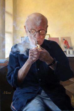 Blowing Smoke (Portrait of Aaron Shikler)