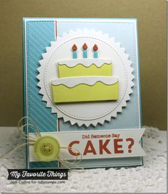 Delicious Birthday, Diagonal Stripes Background, Bring on the Cake Die-namics, Pierced Fishtail Flags STAX Die-namics, Pinking Edge Circle STAX Die-namics, Stitched Circle STAX Die-namics - Jodi Collis #mftstamps