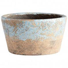 Large Petra Planter Ceramic with a Blue Glaze Finish - treasurecombers