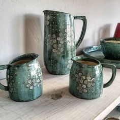 "389 Likes, 7 Comments - Whitney Smith (@whitneyspottery) on Instagram: ""The studio will be open at noon today! I've got these pretty pitchers and a lot of other things…"""
