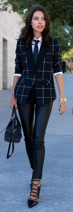 STATE blazer, Alexander Wang shirt, Tommy Hilfiger Collection leather pants, TOPSHOP pumps, Saint Laurent bag