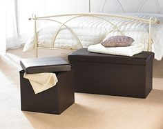 Faux Leather Storage Ottoman. Ideal for kids toys or bedding and gives extra seating too.