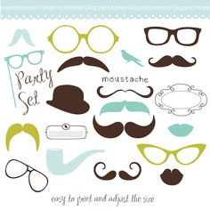Mustache, Spectacles and Lips Kiss Digital Clipart Set. DIY Photo Booth Printables. Best Wedding Party Props. $4.99, via Etsy.