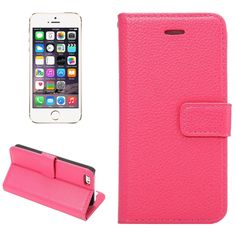 [$4.20] Litchi Texture Horizontal Flip Leather Case with Card Slots & Holder & Wallet & Photo Frame & Lanyard for iPhone 5 & 5S(Magenta)