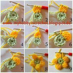 Crochet Puff Flower - Dahlia flower free crochet pattern by My Hobby is Crochet; Beau Crochet, Crochet Puff Flower, Crochet Flower Tutorial, Crochet Flower Patterns, Knit Or Crochet, Crochet Crafts, Crochet Flowers, Crochet Projects, Crochet Tutorials