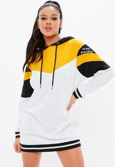 This long sleeve jersey dress features in a black hue, with yellow and white color block design, hooded style and slogan sleeves. Sporty Outfits, Stylish Outfits, Cute Outfits, Modest Fashion, Teen Fashion, Fashion Outfits, Hoodie Dress, Teenager Outfits, Harajuku Fashion