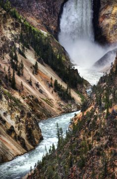 """Yellowstone National Park, Wyoming - Yellowstone Falls From Inspiration Point  This area is considered the """"Grand Canyon"""" of Yellowstone"""