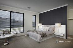 master bedroom home design. neutral with black accent wall. #mastersuite #smarthomesforliving