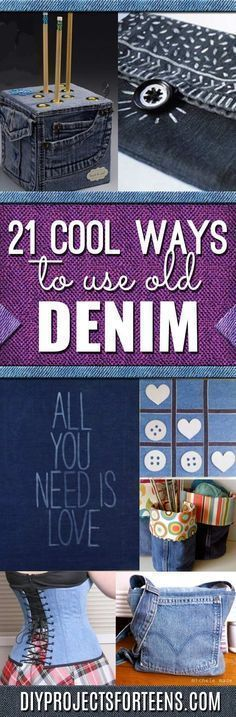 21 Awesome Ways To Use Old Denim Jeans - Creative Home Decor, Fun Fashion, Cool DIY Gifts and Presents for Adults and Teens, Friends.