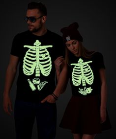 Maternity Shirt, Halloween Skeleton Shirts, Couples Shirts. There is no better Halloween costume for all the pregnant mamas out there! Get yours now!