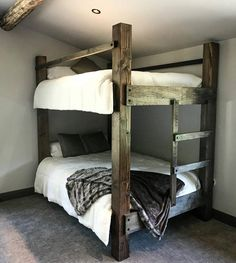This The BIG SKY Bunk Beds. Loft Bed Bunk Bed Frame Full Bed King is just one of the custom, handmade pieces you'll find in our beds & headboards shops. Bunk Bed Diy, Custom Bunk Beds, Adult Bunk Beds, Bunk Beds With Stairs, Kids Bunk Beds, Full Size Bunk Beds, Bunk Beds For Adults, Pallet Bunk Beds, Wood Bunk Beds