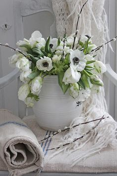 Fresh Scandianavian floral design and vignette with tulips, pussywillow, and anemone flowers in a white crock with homespun linen by VIBEKE DESIGN: Spring flowers joy! Beautiful Bouquet Of Flowers, Beautiful Flower Arrangements, Flower Bouquet Wedding, Silk Flowers, Spring Flowers, White Flowers, Floral Arrangements, Flowers Garden, Outdoor Flowers