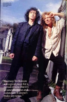 Jimmy Page and Robert Plant in another promo pic shot in a New Orleans graveyard