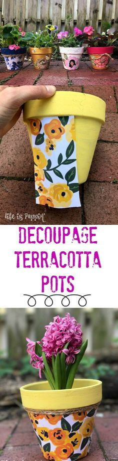 A quick tutorial of how to make these easy and inexpensive decoupage terracotta pots just in time for Mother's Day! Make Mom something extra special this year without breaking the bank! I'm going to show you how to decoupage these terracotta pots into Clay Pot Projects, Clay Pot Crafts, Fun Crafts, Crafts For Kids, Projects To Try, Mod Podge Crafts, Kids Diy, Decor Crafts, Flower Pot People