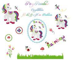 Stickdatei ♥ Rainbow Pony 13 x 18 ♥ - dawanda - 11.90euro